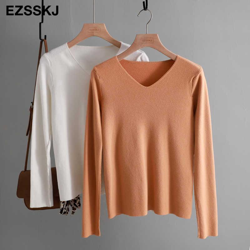 세련된 캐주얼 가을 겨울 기본 스웨터 pullovers 여성 v-목 솔리드 니트 슬림 풀오버 여성 긴 소매 따뜻한 카키 스웨터