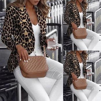 Women Newest Autumn Fashion Slim Stylish Leopard Print Blazer Double Breasted Pretty Cool Small Suit Blazer Trendy Sexy Tops women s stylish slim three quarter sleeve small suit dark blue l