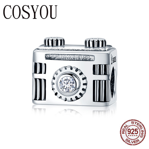 COSYOU Authentic 100% 925 Sterling Silver Popular Vintage Camera Memory Box Charm fit Charm Bracelet Bangle DIY Jewelry SCC516 image