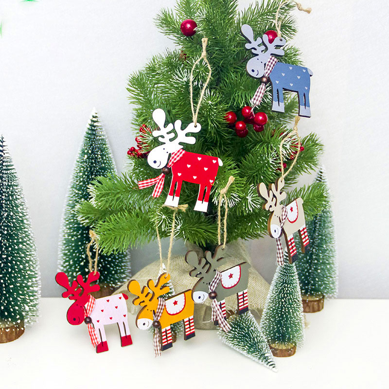Elk Hollow Wooden Pendants Home Xmas Christmas Tree Ornaments Decoration Gift
