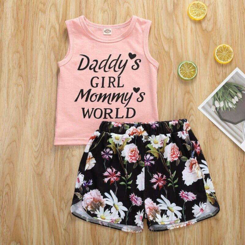 Newborn Kids Baby Girls Clothes Set Summer Outfits Girl Costume Children Clothing T-shirt Tops Denim Pants 2PCS Summer Set