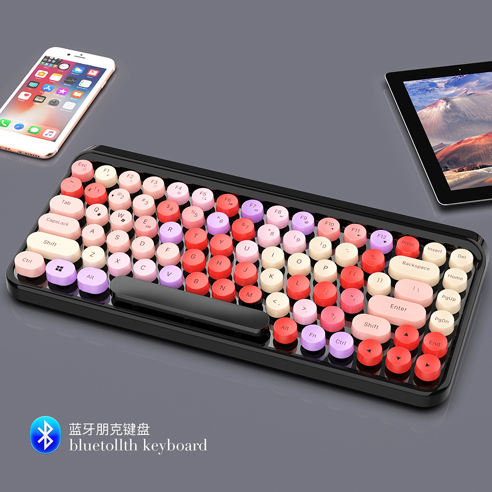 ZERODATE Steampunk Wireless Bluetooth Waterproof Keyboard Retro Colorful 84 Round Keys For MAC Office Notebook Keyboard No Delay