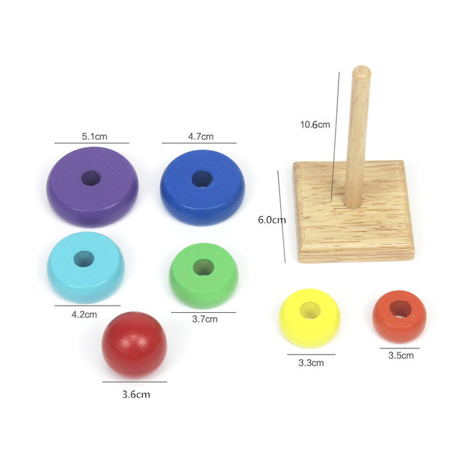 Kids Wooden Stacking Ring Tower Stapelring Blocks Baby Color Shape Learning Educational Toys for Children Rainbow Stack Up Toy