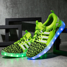 2018 spring new children leisure led girls luminescent sports baby luminous shoes boys glowing kids sneakers lights 2020 New Kids USB Charging Children Boys Led Light Glowing Shoes Luminous Sneakers For Girls Shoes Illuminated Footwear Shoes10T
