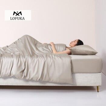 Juego de ropa de cama de seda Lofuka 100% para mujer, funda de edredón de belleza, Sábana plana de cama King Queen, funda de almohada ajustada para dormir profundamente