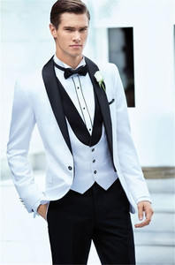 Image 1 - Latest Coat Pant Designs White+Black Men Suit Slim Fit 3 Piece Tuxedo Groom Wedding Suits Custom Prom Blazer (Jacket+Pants+Vest)