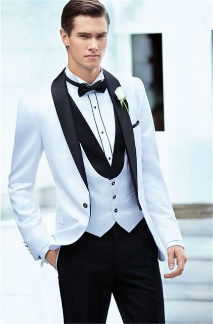 Los últimos diseños de pantalones de abrigo traje de hombre blanco + negro esmoquin de 3 piezas esmoquin chaqueta trajes de boda para graduación personalizada (chaqueta + Pantalones + chaleco)