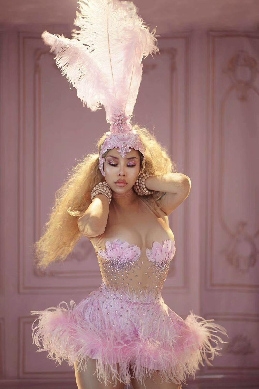 Rhinestones Feather Pink Dress Sexy Nightclub Sleeveless Tight One-Piece Sexy High-Elastic Female Singer Dancer Party Dresses