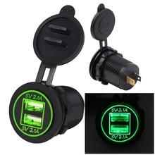 5V 4.2A Dual Usb Car Charger Socket Adapter Outlet Voor 12V 24V Motorfiets Auto Splitter Power adapter Usb Адаптер Питания