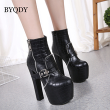 BYQDY Brand Platform Women Ankle Boots Soft Leather Thick High Heel Winter Autumn Zipper Ladies Shoes