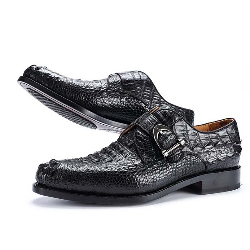 hujingsha Men formal single shoes leisure business crocodile leather men shoes crocodile leather shoes