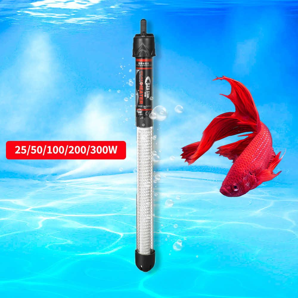 25 w/50 w/100 w/200 w/300 w 220 v ajustável aquecedor de temperatura do aquário submersível tanque de peixes aquecedor de temperatura constante haste