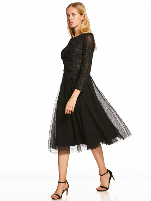 A Line Cocktail Dress Black Scoop Long Sleeves Tea Length Gown Cheap Lady Party Homecoming Formal Short Cocktail Dresses