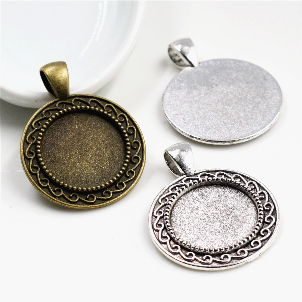 10pcs 18mm Inner Size Antique Bronze And Silver Plated S Texture Style Cabochon Base Cameo Setting Charms Pendant
