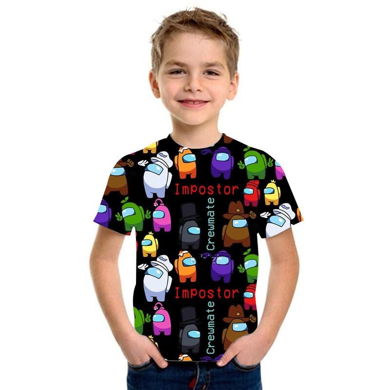 2021 New Style Among Us Impostor Graphic Printed Children T-shirt Summer short Sleeved Boy Girl Top Tees Cartoon Clothing Tshirt