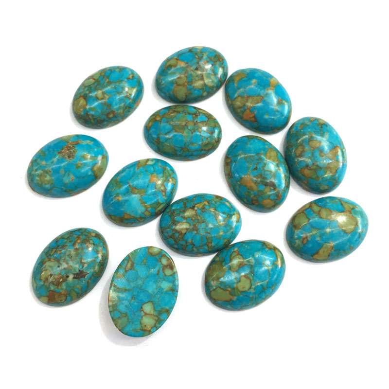 10PCS Natural Stones Blue Turquoise Jade Stone Cabochon No Hole Beads For Making Jewelry DIY Ring Accessories Scattered Beads