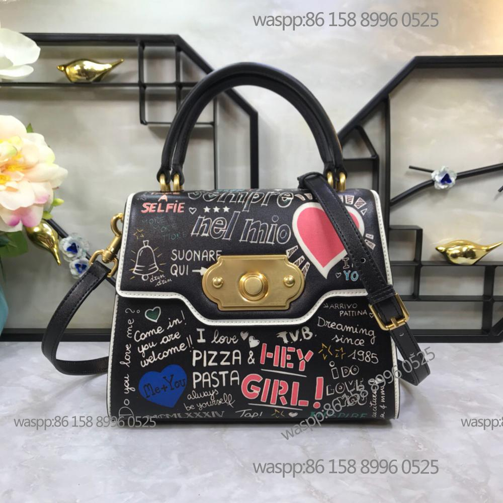 High Quality in 2019 new bag women fashion summer new graffiti printing small square bag Korean lock handbag fashion single