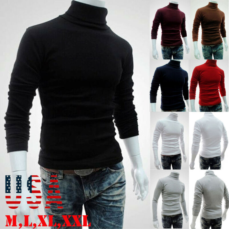 New Streetwear Men Winter Warm Cotton High Neck Pullover Jumper Sweater Tops Men Turtleneck Fashion