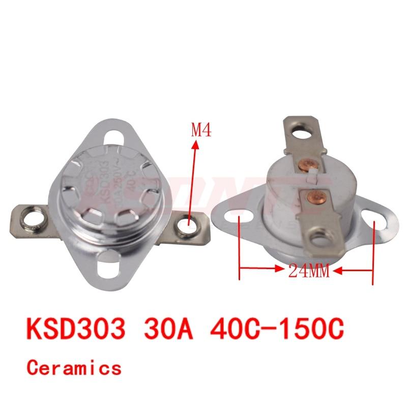 KSD303 30A 250V 40-150 Degree Ceramic KSD301 Normally Closed Temperature Switch Thermostat 40 50 60 70 80 90 100 110 120 130 150