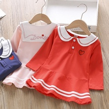 цены Baby Girl Dress 1-6T Lovely Toddler Children New Autumn Girls Cute Cartoon Print Lapel Princess Long-Sleeved Sweet Dress #m
