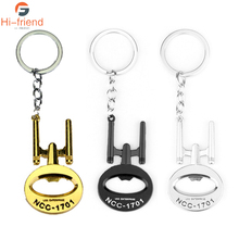 Three Colors Star Wars USS Enterprise NCC 1701 Key Chains Silver Gold Black Metal Bottle Opener Keyrings