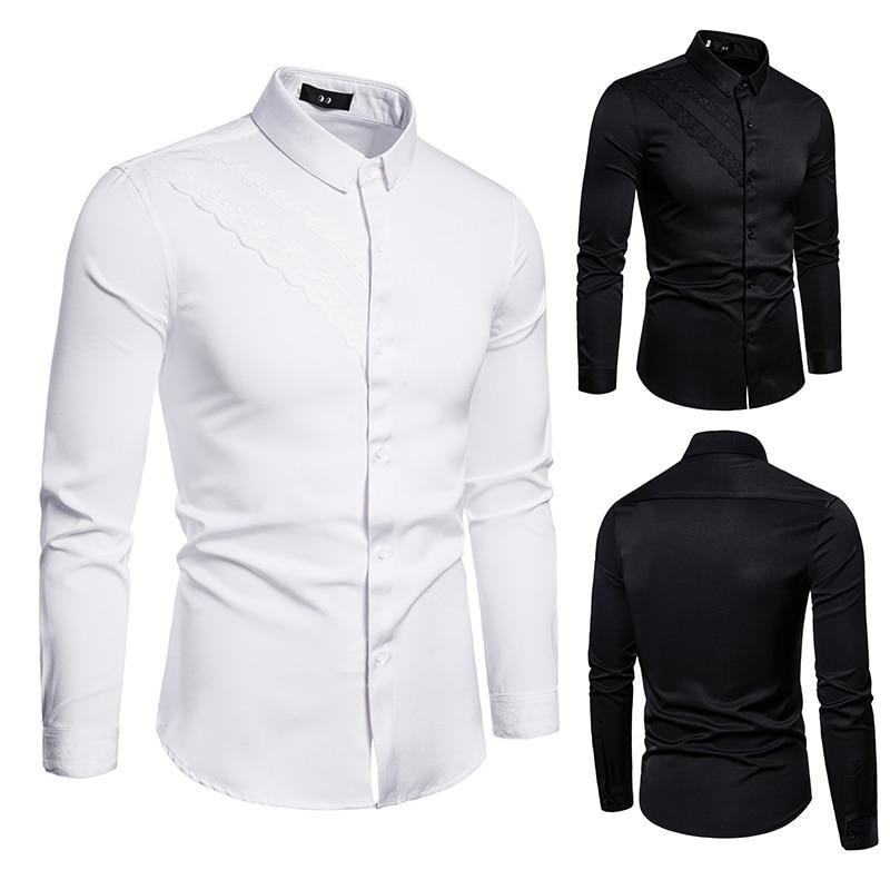 Korean Men's Formal For Men Shirt Long Sleeve Fashion Work Clothes Slim Fitting Clothing Black White Dress Christmas
