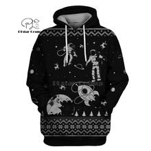 PLstar Cosmos Astronauts space Christmas Reindeer 3d hoodies/shirt/Sweatshirt Winter autumn funny Harajuku Long  streetwear