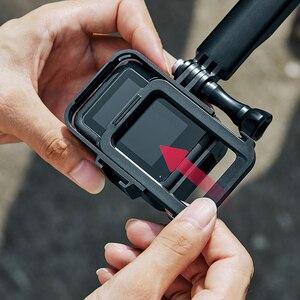 Image 2 - البلاستيك الإطار القياسي ل GoPro بطل 8 الإسكان قذيفة الفيديو الضوئي واقية ميكروفون جبل حامل عمل ملحقات الكاميرا