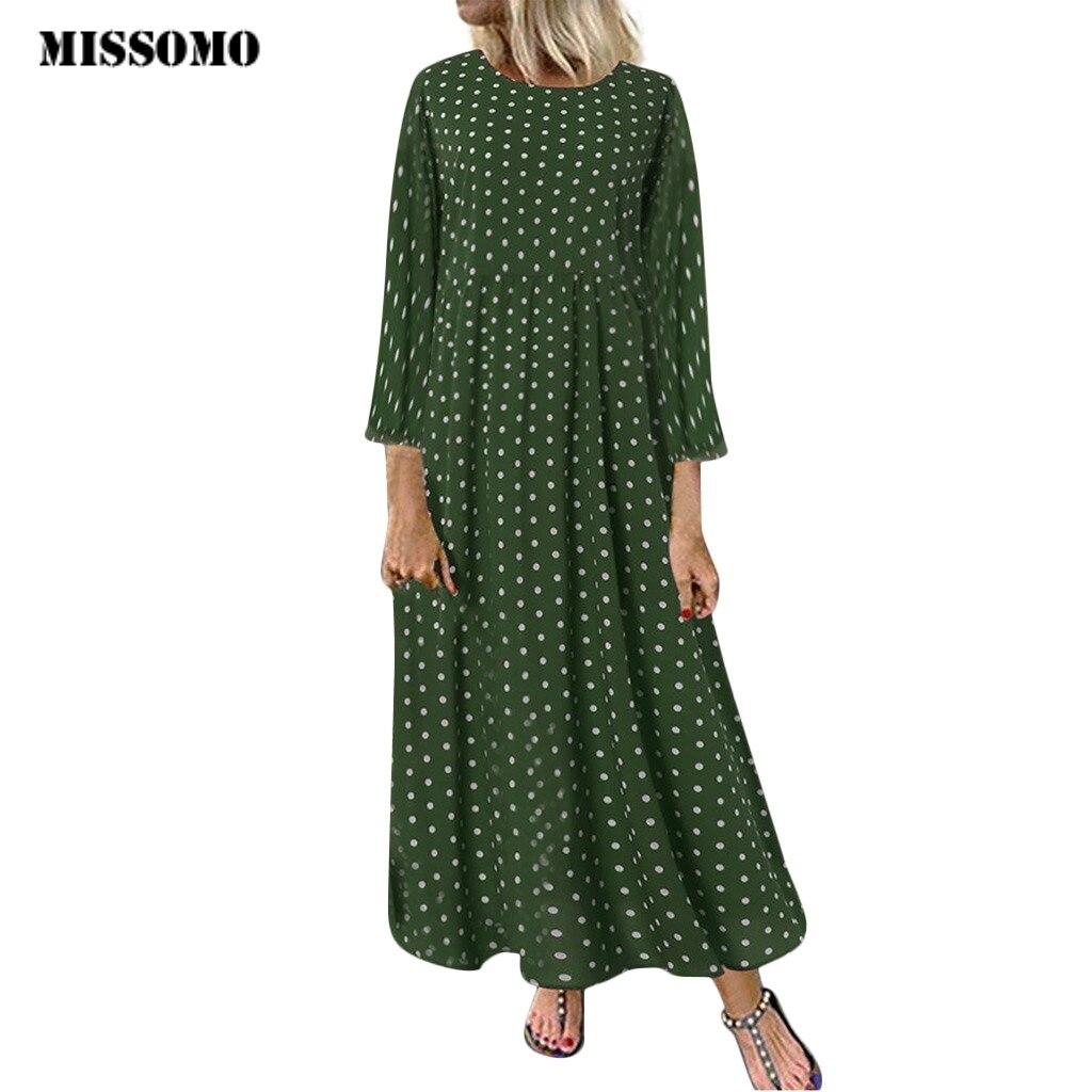 MISSOMO Clothes Women Dress Vintage Vestidos Long Wave Point Print Maxi Dress Plus Size 5XL Dress Women Casual Dresses Wholesale