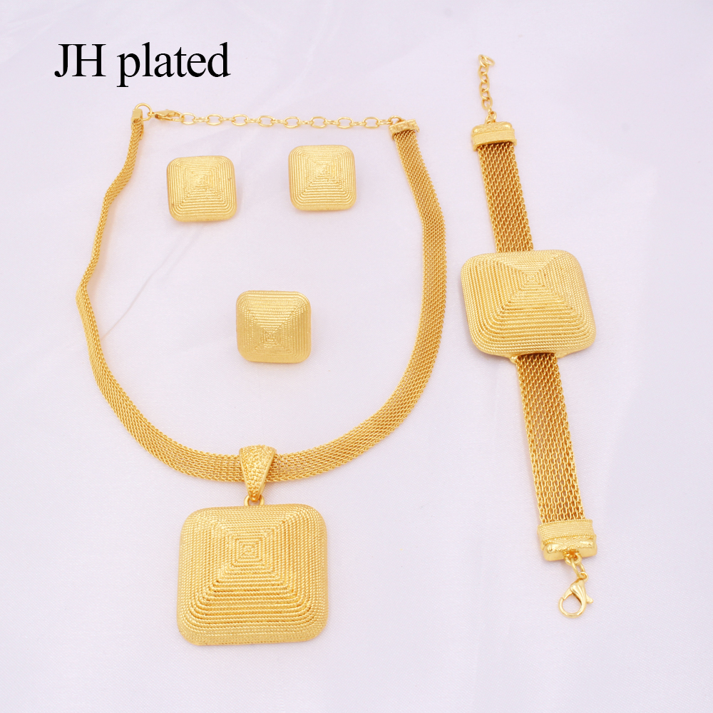 Dubai gold 24K Jewelry sets for women African bridal Wedding gifts party Necklace square earrings ring bracelet jewellery set 3