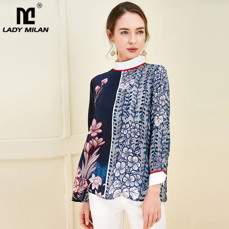 100% Pure Silk Women's Runway Shirts O Neck Long Sleeves Floral Printed Fashion Pullover Casual Blouse Shirt Tops