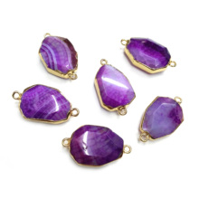Fashion Natural Agates Pendants Charms Connector for Jewelry Making Irregular Necklace DIY Accessories  Size22x38mm