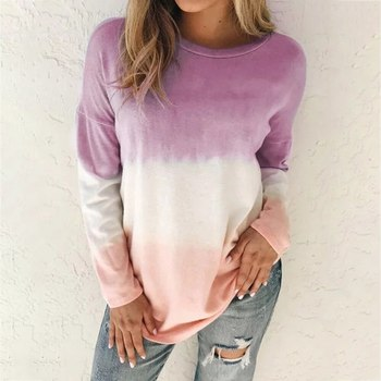 Autumn Winter Tshirt Womens Casual Tie Dye Print Shirts O-neck Long Sleeve Top Loose T-shirt Plus Si