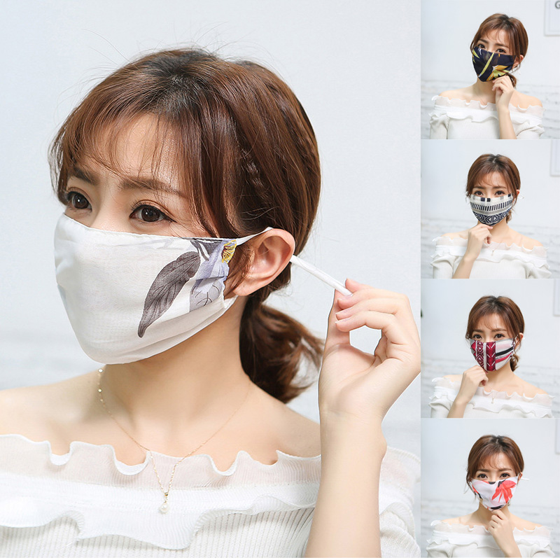 Summer Adult Women Floral Dust Mouth Face Mask Sun Protection Washable Chiffon Mask Reusable