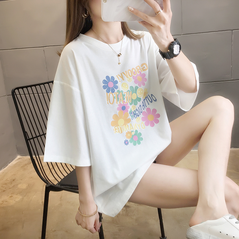 Купить футболка женская оверсайз с круглым вырезом свободная рубашка