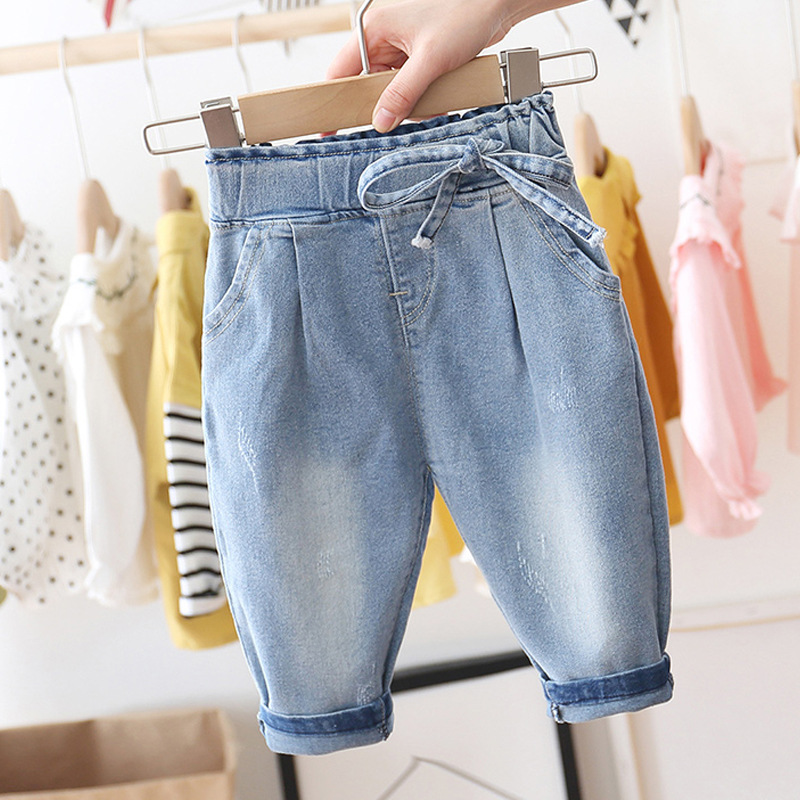 Baby Girls Sweet Bowknot Jeans Spring Autumn Children's Leisure Trousers Baby Denim Pants Kids