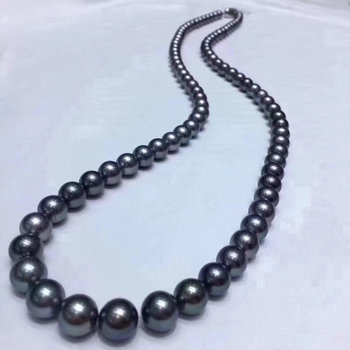 D428 Pearl Necklace Fine Jewelry Round 8-9mm Natural Fresh Water Black Pearls Necklaces for Women Presents