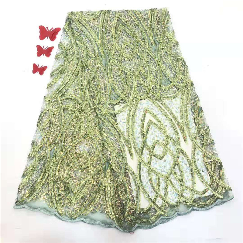 2020 Latest African Lace Fabric High Quality French Net Embroidery Green Sequins Tulle Lace Fabric For Nigerian Party Dress