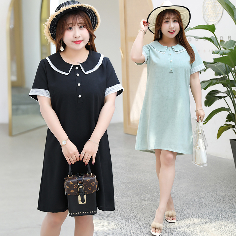 Summer New Style Large GIRL'S Large Size Dress Sweet Double Layer Peter Pan Collar Full Body Dress A Generation Of Fat 1719