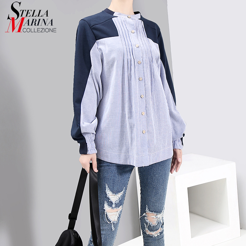New 2019 Korean Style Women Oversized Convertible Blue Shirt Blouses Long Sleeve Striped Patchwork Stylish Chemise Femme 5492