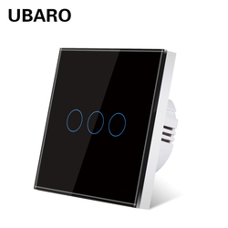 UBARO Tempered Crystal Glass Panel Wall Light Touch Switch Power Interrupteur Sensor Switches Button 3 Gang Home AC:100-240V