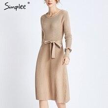 Simplee נשים פרע סרוג שמלת O צוואר אונליין מוצק פרל ארוך שרוול שמלת שיק משרד ליידי סתיו חגורת slim סוודר שמלה