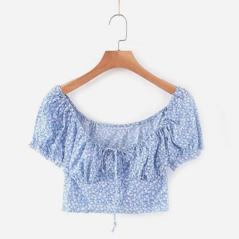 Baumwolle Leinen Gemischt Floral Frauen Sets V Neck Crop Tops Hohe Taille Mini Rock Weibliche 2020 Kurze Blusen Bodycon Bottom für Dame