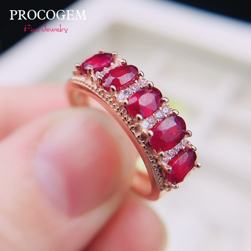 Natural Pigeon Blood Burma Ruby Rings For Women Engagement 3x4mm No Heated Genuine Gemstones Fine Jewelry S925 Silver #411