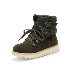 Image 4 - YMECHIC 2019 Yellow Army Green Black Winter Snow Boots Women Lace Up Platform Buckle Plush Punk Shoes Gothic Ankle Combat Boots