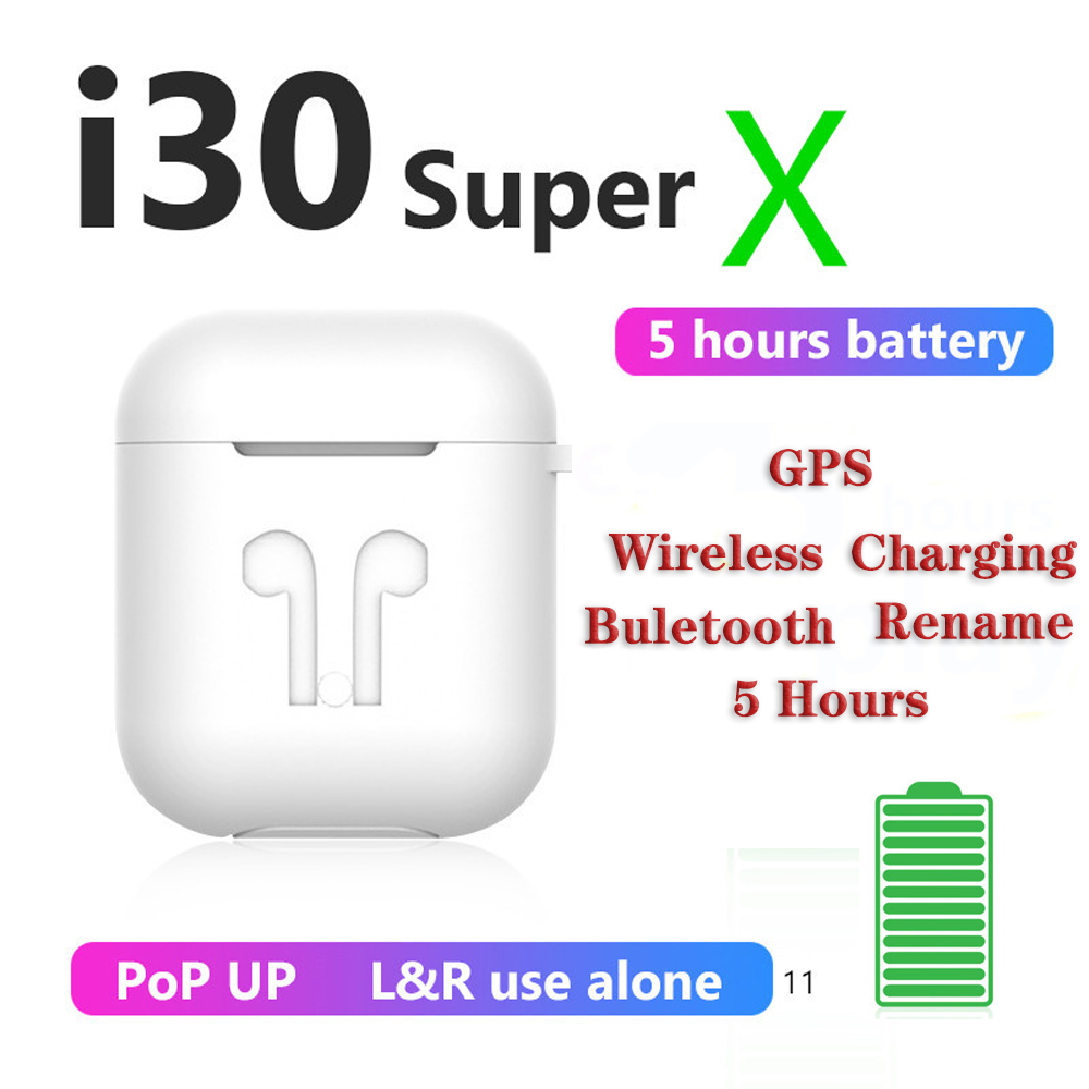 <font><b>i30</b></font> <font><b>Super</b></font> X <font><b>TWS</b></font> Touch Control 1: 1 Copy Earbuds Wireless Charging GPS Earphone 6D Bass for iPhone huawei PK W1 chip i11 i9 i7 image