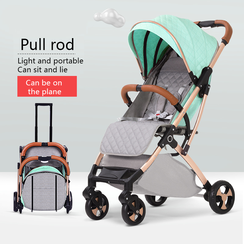 Four-wheeled stroller portable folding 0-3 year old baby carriage