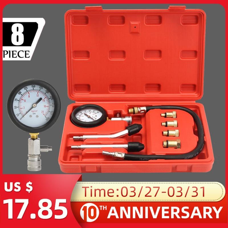 Petrol Engine Pressure Gauge Tester Kit Set Compression Leakage Diagnostic Compressometer Tool For CAR Auto With Case