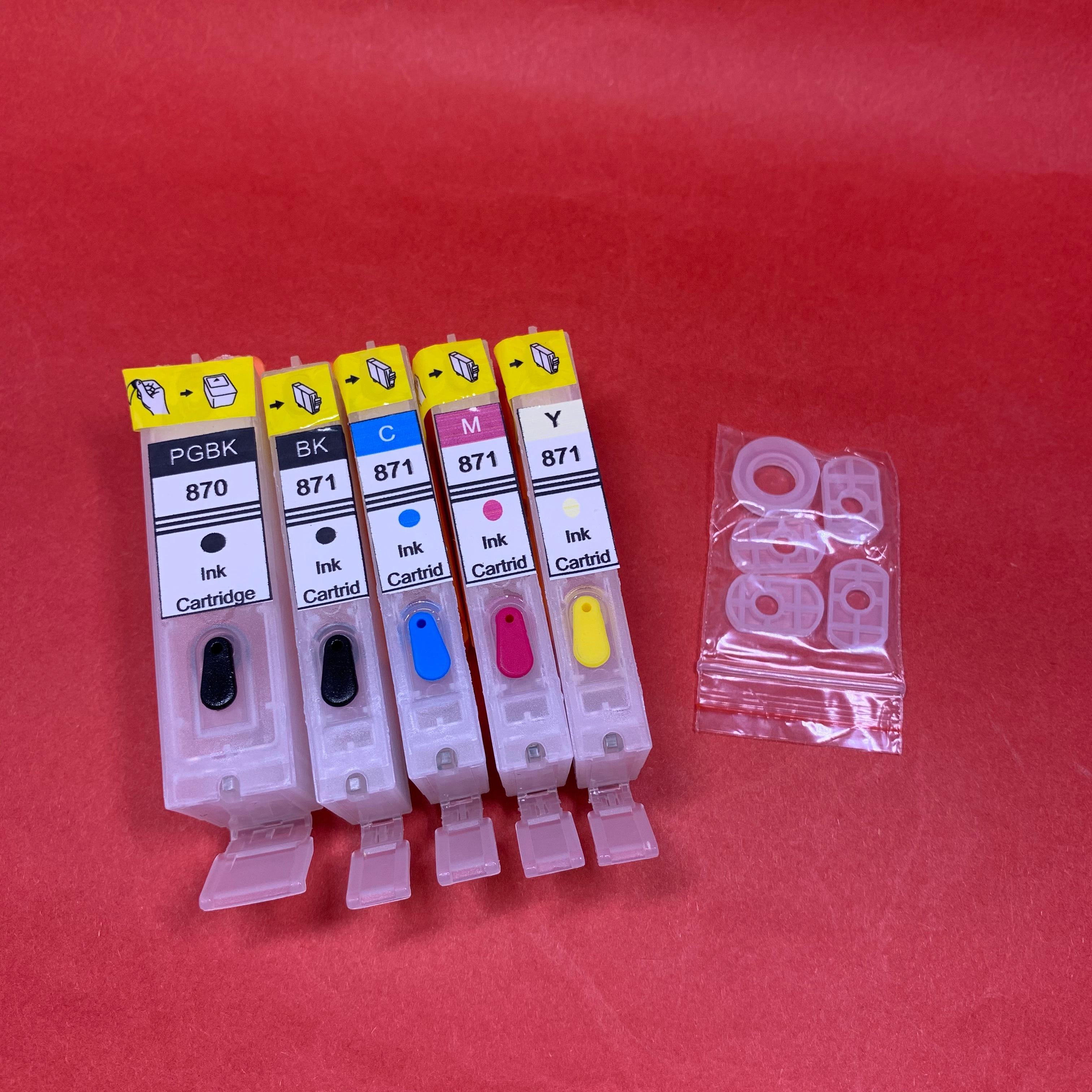 YOTAT 5 uds cartucho de tinta rellenable PGI-870XL PGI-870 CLI-871 para Canon PIXMA MG7780 MG6880 MG5780 TS9080 TS8080 TS6080 TS5080