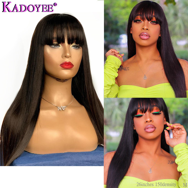 Straight Human Hair Wigs with Bangs 13x4 Lace Front Wig with Bangs Human Hair Bob Wig Brazilian Remy Hair Lace Wig for Women